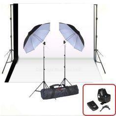 Get your studio ready with this double flash kit that includes a set of Four Channel wireless trigger/receiver kits and comes complete with a background stand and two 10'x20' muslin backdrops.  http://www.studiohut.com/p-948-strobies-wireless-trigger-kit-wumbrellas-backdrop-stand-whiteblack-backdrop.aspx