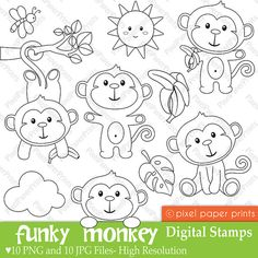 Funky Monkey Digital Stamps by pixelpaperprints on Etsyis a set of 10 PNG files with transparent background and 10 JPG files. All these files are watermark-free.Are you looking for cute high quality images to use in your projects? You can print these digi Felt Patterns, Embroidery Patterns, Felt Crafts, Paper Crafts, Clip Art, Digi Stamps, Baby Quilts, Coloring Pages, Doodles