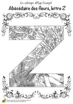 Coloriage abecedaire belles fleurs a lettre z sur Hugolescargot.com - Hugolescargot.com