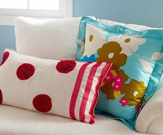 Transform your unworn scarves into fun accent pillow covers to add some brightness to your home this #spring! #recycle #DIY (via @Gayle Roberts Merry Homes and Gardens www.bhg.com)