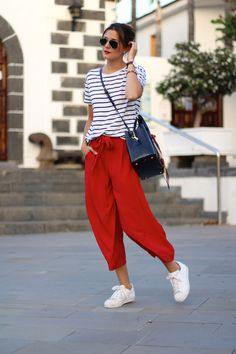 Red Paper Bag Trousers, Stripe T-Shirt & Trainers