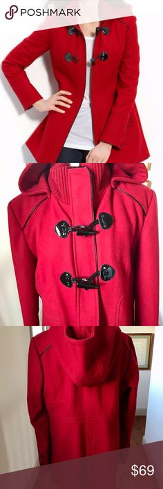 """Guess Large Red Wool Winter  Coat Parka w Hood Guess Winter Red Wool Coat Parka w Hood.  Size:  Extra Large  / Size 14.  Measurements:  Length (shoulder to bottom edge): 31"""" Width (from under one arm to the other): 21"""" Sleeve: 24""""    Bright Red with Black Trim, 2 pockets. Fully lined, Detachable hood Red turtleneck / shawl collar Fabric:  100% Wool with Polyester Lining Full length front  zipper and 2 black frog / toggle fastenings 3 black buttons at the bottom of the sleeves. Black trim…"""