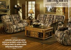 Check out this living room set inspired by the outdoors. decorations are the only way to go. I could live with a living room like this. A more unique coffee table, probably. Camo Living Rooms, Camo Rooms, Living Room Sets, Living Room Furniture, Living Room Decor, Camo Furniture, Dream Furniture, Camouflage Bedroom, Realtree Camo