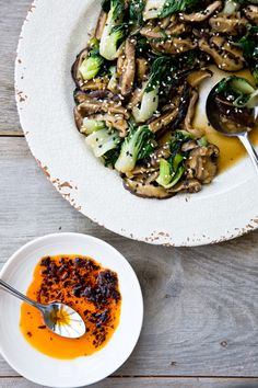 Asian-Style Shiitake Mushrooms and Baby Bok Choy | tartineandapronstrings.com