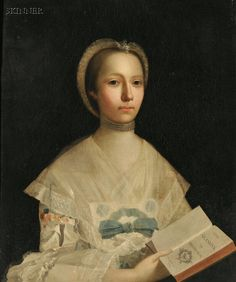 Attributed to Allan Ramsay (Scottish, 1713-1784)    Portrait of a Lady Holding a Book of Verse  Unsigned, identified on a presentation plaque.  Oil on canvas