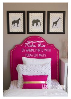 DIY Wall Art Animal Prints with glitter polka dot mats.