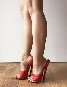 18MULE Sexy Mistress Hi Heel Stiletto Fetish Slipper Slides Mule Red Matte #stilettoheelsmistress