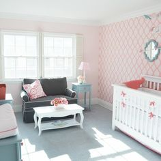 50 Perfectly Pink Nurseries: Coral, pale pink and aqua brighten up this vintage-inspired nursery with a Moroccan-patterned wall