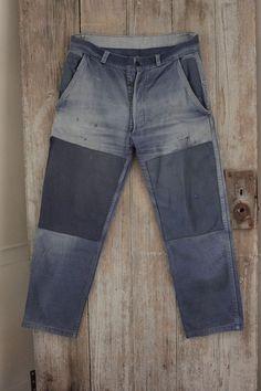 Vintage French travaille bleus Work Chore wear denim blue pants TIMEWORN BEST !!  www.textiletrunk.com