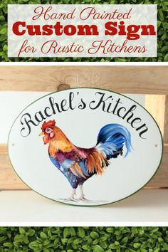 This French Provincial Style sign is the perfect decor idea for designing an elegant, rustic country kitchen. Enahce your rustic kitchen's comfortable warmth with this hand painted rooster plaque! Beach House Signs, Home Signs, Rustic Country Kitchens, Rustic Kitchen, Kitchen Decor Signs, Country Wall Decor, Cottage Style Homes, Tile Murals, Address Plaque