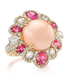 Coral and Spinel Flower Ring