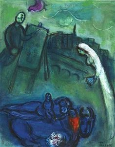 Pont-Neuf - 1953 - Marc Chagall.  Compare Pont-Neuf Wrapped, Christo.