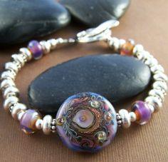 Juliette Bangle Bracelet  Lampwork Glass Bead by StoneStreetStudio, $169.00