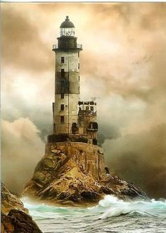 Built under extremely difficult conditions on jagged rock just off the southeastern cape of Sakhalin island, the Mys Aniva lighthouse has stood for of a century. Japan built the lighthouse in the late when Sak Lighthouse Pictures, Beacon Of Light, Am Meer, Belle Photo, Beautiful Places, House Beautiful, Wonderful Places, Scenery, Around The Worlds