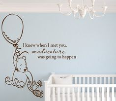 "Classic Winnie the Pooh I Knew When I Met You an Adventure Was Going to Happen 32""Wx36H Wall Decal Art Vinyl Sticker Baby"