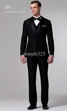 Wholesale Handsome Black Fashion Mens Wedding Dress Bridegroom Prom Clothing Party Men Suit Custom Made, Free shipping, $117.6-134.4/Piece   DHgate