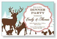 Woodland Holiday Invitation #holiday #christmas #brunch #party #invitation