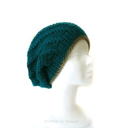 $35.00  Men's Knit Beanie Hat in Teal Green and Camel, by NOTON by Raquel
