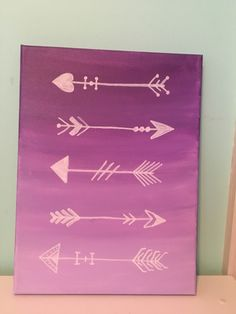 Ombré purple arrows canvas painting. Easy DIY