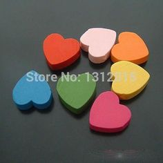 Wholesale 18x17mm 100pcs Mixed color Wooden Heart Spacer Loose beads For Children Handmake DIY Accessory JG-15849