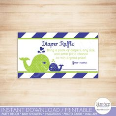 Printable Navy Blue and Green Whale Baby Shower Diaper Raffle Tickets from DoodleLulu by 2 june bugs