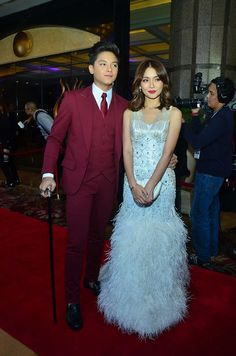 Teen King Daniel Padilla in a red suit by Edwin Tan and Teen Queen Kathryn Bernardo in a white Albert Andrada dress during the 8th Star Magic Ball. Photo by Nimfa Chua, ABS-CBNnews.com