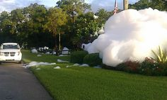 Someone loaded a community fountain with dish soap. It was totally worth it.