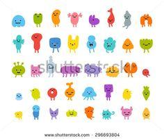 Set Cute Little Cartoon Monsters Different Stock Vector (Royalty Free) 296693804 Cartoon Monsters, Cute Monsters, Simple Character, Character Design, Character Illustration, Graphic Illustration, Monster Vector, Posca Art, Mascot Design