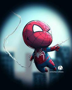 Spiderman Chibi, All Spiderman, Chibi Marvel, Avengers Cartoon, Baby Avengers, Marvel Art, Marvel Comics, Amazing Spiderman, Marvel Drawings