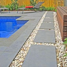 Bluestone Pool Coping and Pool Pavers - nice stepping stones Pool Pavers, Concrete Pool, Driveway Pavers, Walkway, Pool Coping, Landscaping Around Pool, Backyard Landscaping, Backyard Pools, Landscaping Ideas