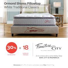 Adquiere tu Ormond Shores Pillowtop con el 30% de descuento + 18 cuotas sin intereses al pagar con tu tarjeta de BAM, CITI y PROMÉRICA.