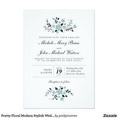"Pretty Floral Modern Stylish Wedding Invite Aqua 5"" X 7"" Invitation Card"