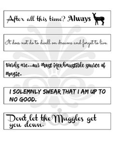 Harry Potter Inpsired Quotes Bookmarks. Printable Digital. JPEG. Gift for Book Lovers Readers,Potterheads, Dumbledore Snape Always