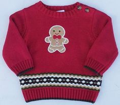 Gymboree Gingerbread Boy Red Gingerbread Pullover Sweater Sz 3-6 Months NWT #Gymboree #Pullover #DressyEverydayHoliday