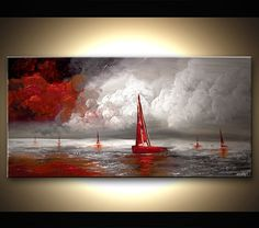 Seascape Painting 48 x 24 Textured Original por OsnatFineArt, $660.00