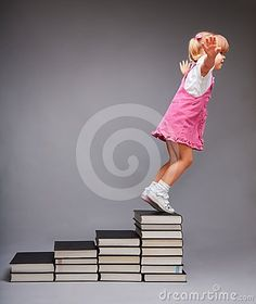 Opportunities after education - girl jumping from steps that symbolize education stages made of books. #education