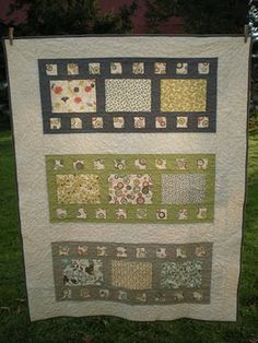 Film strip quilt. This would be great for when fabric that you have several different cuts already.