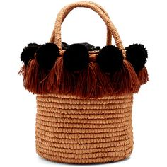 Sensi Studio Pompom-embellished toquilla-straw basket bag ($252) ❤ liked on Polyvore featuring bags, handbags, purses, torbe, tan multi, structured purse, tassel handbags, straw purse, top handle handbags and straw hand bags