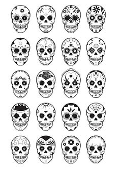 Día de Muertos sugar skull printable colouring sheet and loads of other cool ideas
