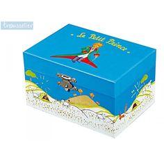 Beau coffret Petit Prince idéal pour ranger colliers, bracelets et bagues. Boîte à bijoux musicale. La boîte à bijoux se remonte à l'aide d'une clé fixée derrière la boîte, fonctionne sans pile.