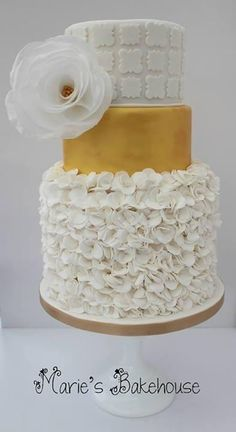 White and gold with rice paper flower