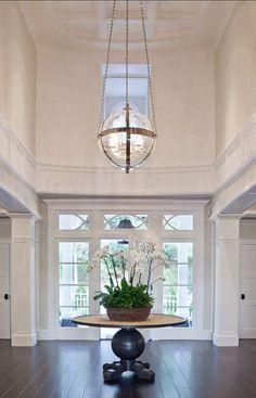 Entryway Foyer with dark har Foyer. Entryway Foyer with dark har Foyer Design, Deco Design, House Design, Lobby Design, Design Hotel, Wall Design, Entryway Chandelier, Entryway Lighting, Entryway Decor