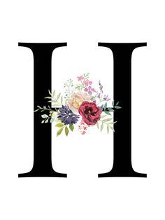 Letter H Floral monogram Printable Letter Nursery Art image 5 Tiger Design, Nursery Letters, Nursery Wall Art, Girl Nursery, Letter H Design, Monogram Wallpaper, Floral Letters, Lettering, Wall Art Designs