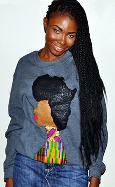 I love this statement sweatshirt by Quelly Rue! African Dresses For Women, African Attire, Fashion D, African Fashion, Protective Hairstyles, Protective Styles, Curly Hair Styles, Natural Hair Styles, Afro