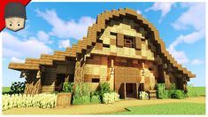 How to Build a Barn/Stables in Minecraft (Minecraft Build Tutorial) - vTomb Minecraft Horse Stables, Minecraft Barn, Minecraft Kingdom, Minecraft Building Blueprints, Easy Minecraft Houses, Minecraft Plans, Minecraft Survival, Minecraft Decorations, Amazing Minecraft