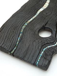 Burned wood tableau mosaique planche...