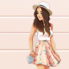274 Me gusta, 20 comentarios - Daria ❤️ Illust. Cute Girl Drawing, Cartoon Girl Drawing, Girl Cartoon, Cartoon Drawings, Cartoon Art, Girly Drawings, Princess Drawings, Sarra Art, Chica Cool