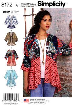 Simplicity Sewing Pattern 8172 Women's XXS-XXL Kimonos - top jacket easy to sew #Simplicity