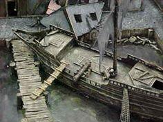 Mordheim boot Game Terrain, Fantasy Background, Train Table, Fantasy City, Wargaming Terrain, Wooden Ship, Environment Design, Medieval Fantasy, Model Building
