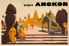 Picture This Gallery, Hong Kong | 1930s poster promoting travel to Angkor
